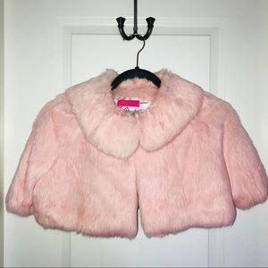 Juicy Couture Pink Rabbit Fur Shrug